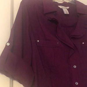 White House Black Market Tops - WHBM convertible sleeve ruffle shirt